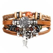 17KM 8 kinds Design Vintage Multiple Layer Leather Bracelet For Women Charms Bra - $9.41
