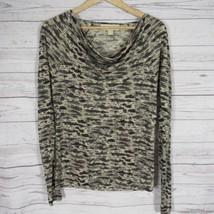 Michael Kors Shirt Top Womens XS Black Goldish Tone Snake Print Long Sle... - $34.95