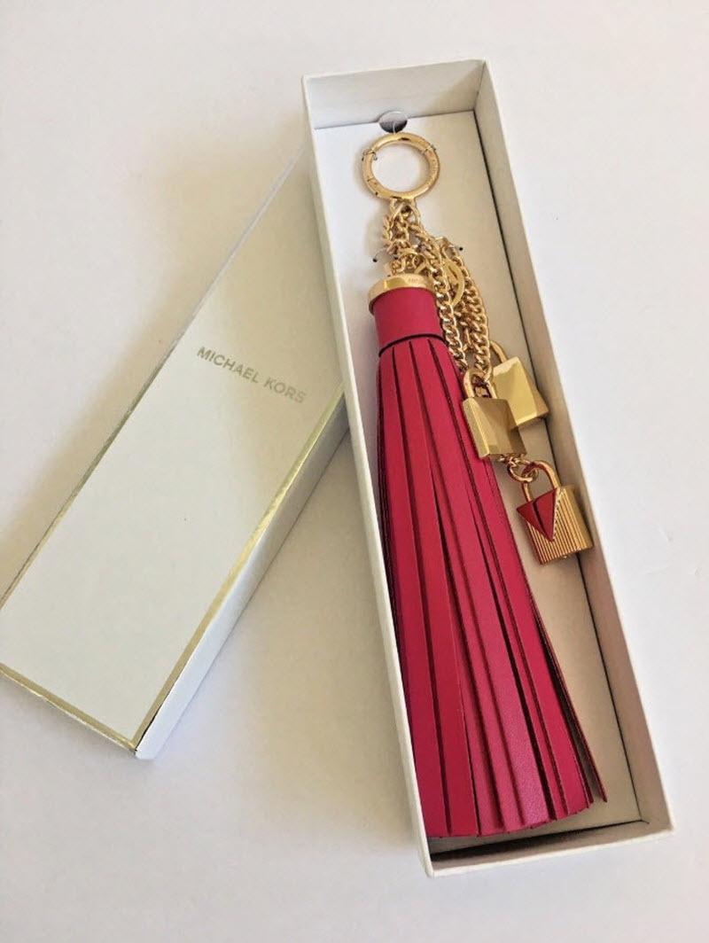 ea3bd3c37204 MICHAEL KORS Mercer Tassel and Lock Leather Bag Charm Pretty IN BOX NWT