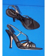7.5 M NINA Black Satin Ladies High Heel Shoes Sparkle Open Toe Strappy S... - $24.99