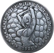 New Hobo Nickel 1921 USA Morgan Dollar Kinky Girl Bikini Tied Up Bdsm CO... - $11.99