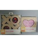 Set of 2 Hand Made Modern XOXO & Heart Unfinished Craft Product Wood Pho... - $14.84