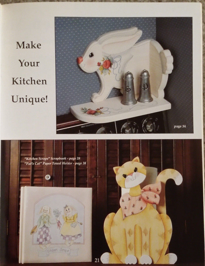 Whats Cooking By Pat Saunders Cats Bunnies Tole Painting Book RARE Out of Print.