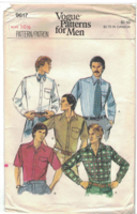 Vogue 9617 Men's Shirt Pattern Size 16 1/2 Neck 1970s Slim Fit Uncut - $10.66