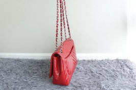 RARE AUTH Chanel Red Chevron Quilted Patent Maxi Classic Single Flap Bag SHW image 1