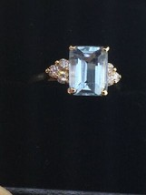 Custom 14K Yellow Gold Natural Emerald Cut Aquamarine Ring w/ Diamonds (... - $385.00