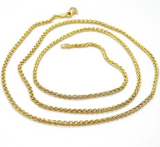 18K YELLOW GOLD CHAIN SPIGA EAR BRAIDED LINK 2 MM, 24 INCHES, 60 CM, ITALY MADE image 1