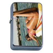 Surfer Pin Up Girls D1 Flip Top Oil Lighter Wind Resistant With Case - $12.82