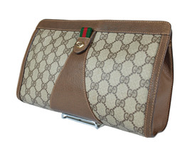 Authentic GUCCI GG Pattern PVC Canvas Leather Browns Clutch Bag GP2064 - $229.00