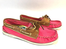 SPERRY TOPSIDER bright pink canvas leather rawhide lace boat shoes 9.5 F... - $19.75