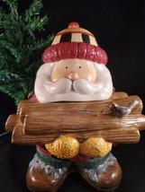 "Sakura Woodland Santa Cookie Jar Ceramic Log Cabin Decor with Box 12"" 1998 - $29.69"