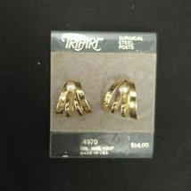 TRIFARI GOLD TONE METAL EARRINGS DOUBLE WIRE HOOP 4970 SURGICAL STEEL PO... - $14.24
