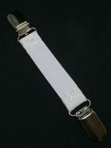 "White Stretch DRESS CINCH CLIP Scarf Tunic 3/4"" wide w/ Clip Inserts and... - $5.89"