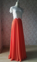 Plus Size Maxi Chiffon Skirt A-Line Chiffon Wedding Skirt Orange image 3
