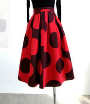 RED Winter Pleated Skirt Women Red Polka Dot Skirt Christmas Outfit Plus Size  image 4