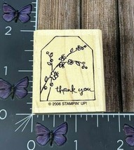 Stampin' Up! Thank You Tree Flower Branch Tag Rubber Stamp 2006 Wood Mount #O38 - $2.48