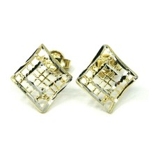 SOLID 18K YELLOW WHITE GOLD EARRINGS, WAVY, 13x12 mm, WORKED RHOMBUS, STRIPED image 2