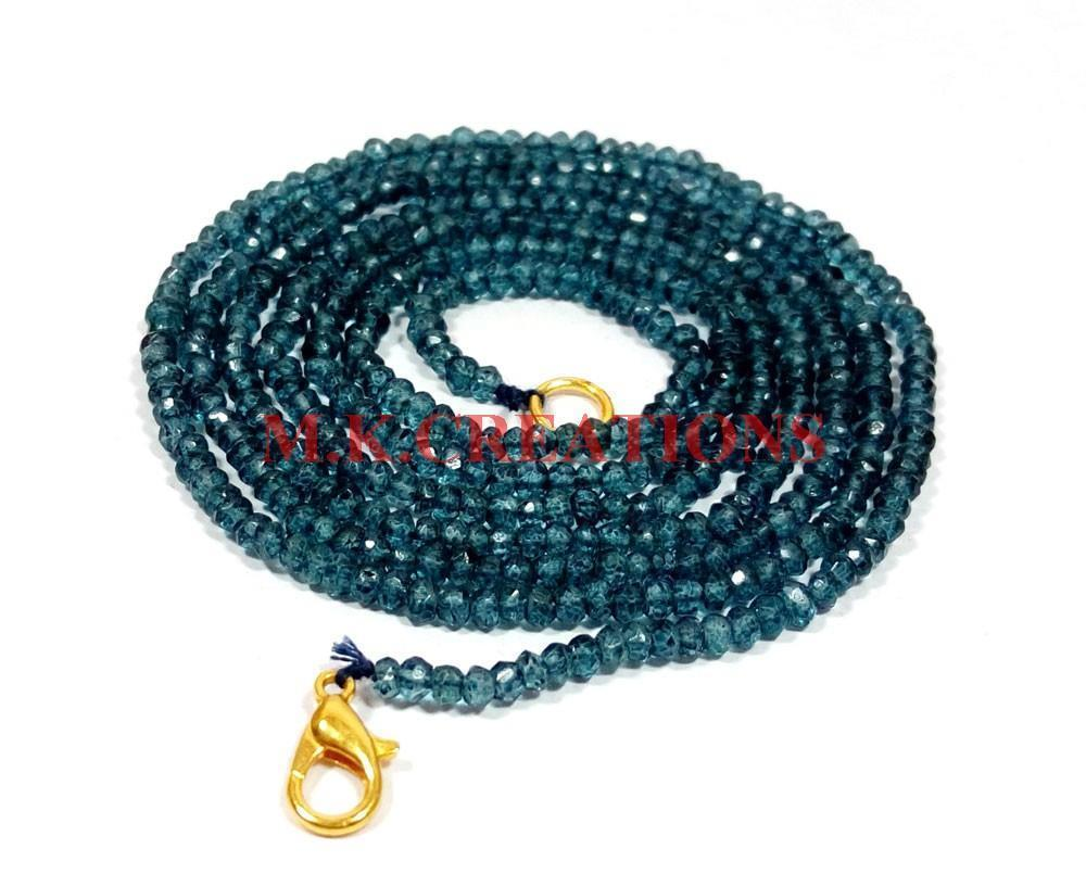 "L.B. Coated Crystal 3-4mm Rondelle Faceted Beads 20"" Long Beaded Necklace"