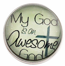 White Awesome God Cross Glass 20mm Snap Charm Interchangeable For Ginger... - $6.19