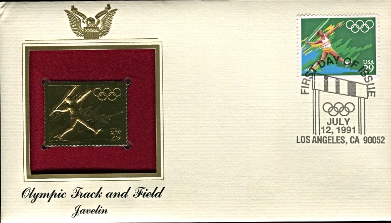 Primary image for OLYMPIC TRACK & FIELD - Javelin  FIRST DAY OF ISSUE STAMP: Jul. 12, 1991