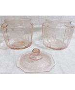 2 Mayfair Open Rose Pink Cookie Biscuit Jar w/ Lid Anchor Hocking Glass ... - $59.99