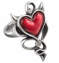 Naughty Cute Devil Red Heart Ring Crystals Tail & Horns ULFR6 Alchemy Gothic - $34.95