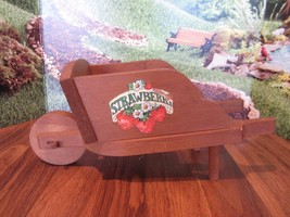 Vintage Wooden Wheel Barrow  garden decor plant holder decoration - $16.34