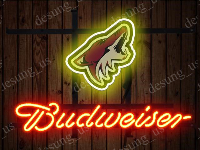 """New Budweiser Phoenix Coyotes Beer Neon Sign 19""""x15"""" Ship From USA"""