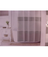 Tommy Hilfiger Fleet Stripe Gray and White Shower Curtain - $39.99
