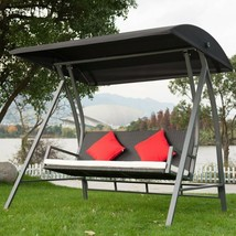Modern Swing Outdoor Lounge Chair 3 Seats Garden Patio PE Wicker Glider ... - $365.48