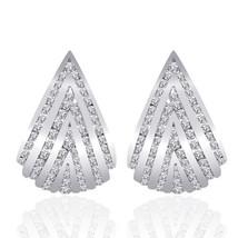 1.50 Carat Round Cut Diamond Triangle J-Hoop Earrings 14K White Gold - $1,086.13