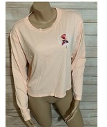 Victorias Secret PINK Neon Longsleeve Tee Tshirt Semi Cropped  Logo Crew... - $25.25