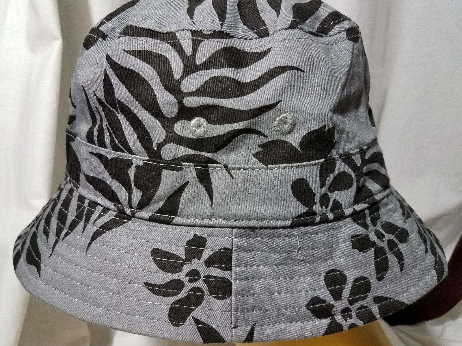Hawaiian Creations Aloha Print Sun Hat Gray Black Flowers