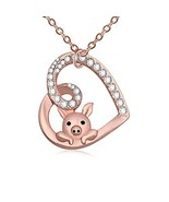 TUSHUO Delicate Cute Hollow Heart Lovely Pig Pendant Necklace Piggy (Ros... - $17.21