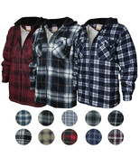 Men's Heavyweight Flannel Zip Up Fleece Lined Plaid Sherpa Hoodie Jacket - $29.69+