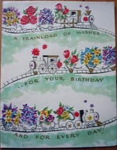 Mid Century Train Load Of Wishes Birthday Greeting Card 1960s - $4.99
