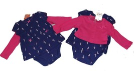 2-PC Carter's Pink & Navy Flamingos Dress / Cardigan Bows Set Infant Girls NWT - $19.99