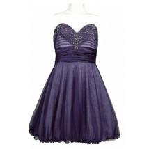 Adrianna Papell Strapless Sweetheart Mesh Dress, Purple, 14 - $59.39