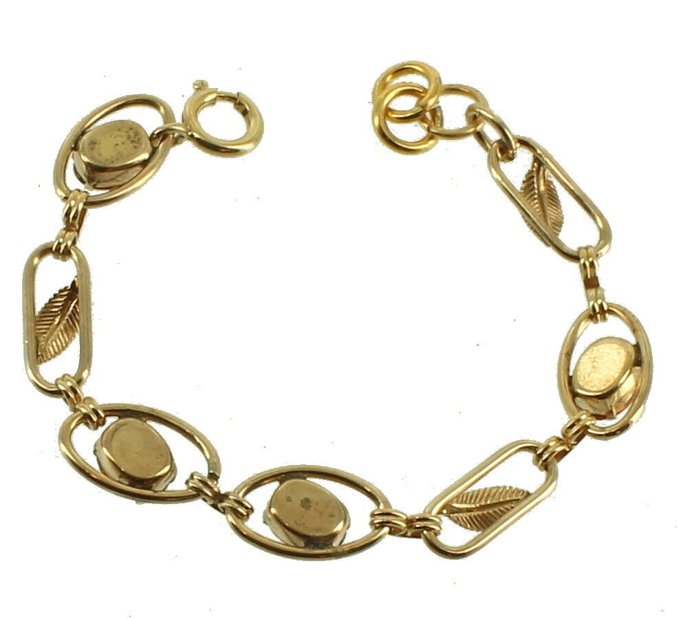"VINTAGE DECO GF GOLD FILLED AMBER PASTE LEAF LINK BRACELET 6.5"" image 2"