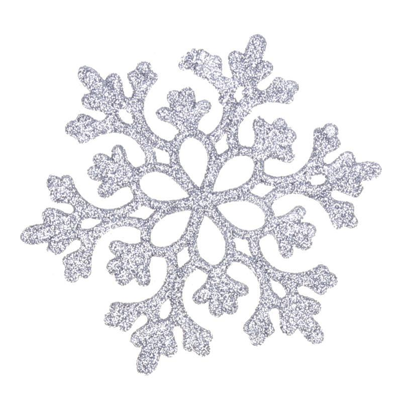 Primary image for (silver)24pcs Snowflakes Christmas Decor 10cm Plastic Glitter Snow Flake O
