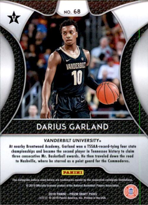 Darius Garland 2019-20 Panini Prizm Draft Picks Rookie Card #68 image 2