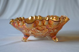 Imperial Carnival Glass Marigold Rose #74 C Crimped Bowl  3 Toed - $17.82