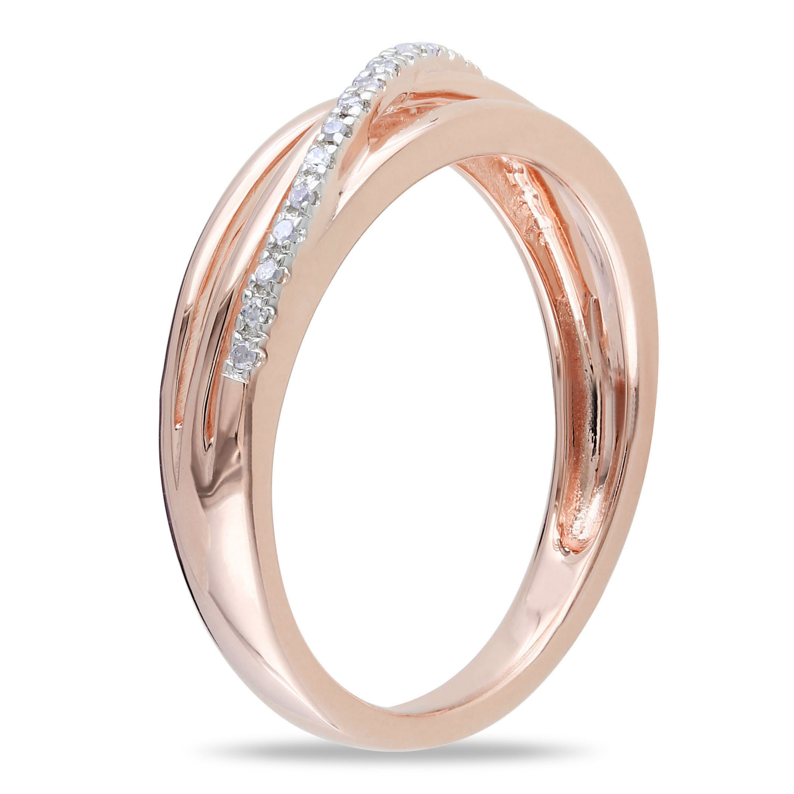 925 Pure Silver 14k Rose Gold Finish Round Cut Sim Diamond Band Engagement Ring
