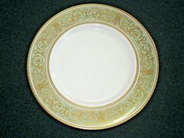 "Royal Doulton Bread Plate English Renaissance H4972 Green Scroll Gold Rim 6 1/2"" - $7.59"