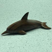 IRONWOOD DOLPHIN FIGURINE hand carved iron wood porpoise marine life scu... - $34.65