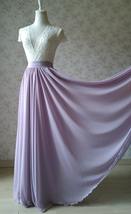 Women's High Waisted Chiffon Maxi Skirt Lavender Plus Size Summer Chiffon Skirts