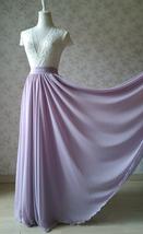 Women Maxi Chiffon Skirt Floor Length Wedding Chiffon Skirt Lavender high waist image 2