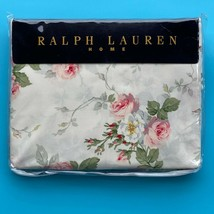 Ralph Lauren Shabby Cottage MEADOW WAY Ivory Rose Floral Sheet Queen Flat - $178.19