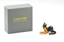 Gift Box Set Lucky Black Cat Hand Blown Glass Tiny Art Figurine Ornament... - $14.42