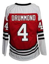 Custom Name # Drummondville Retro Hockey Jersey New Red Drummond #4 Any Size image 4